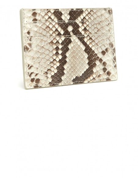 Snakeskin Slim Credit Card Case, Genuine Diamond Python Card Holder