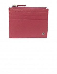 Women's Textured Calfskin Credit Card Case with Zip