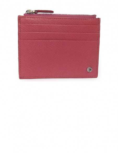 Women's Textured Calfskin Credit Card Case with Zip