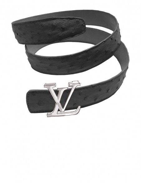 OSTRICH Belt Strap for LOUIS VUITTON Signature Buckle
