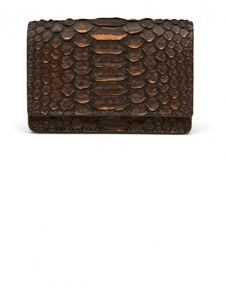 Women's Python Skin Card Case with a bill and receipt compartment