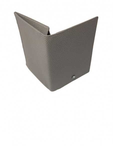 Textured Calfskin Business Card Holder with Gusset Compartment