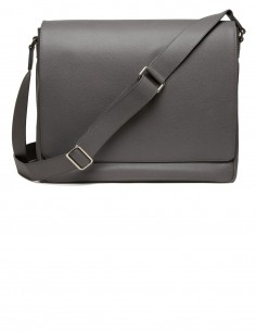 City Style Messenger Bag made of Italian Textured Calfskin with Laptop pocket