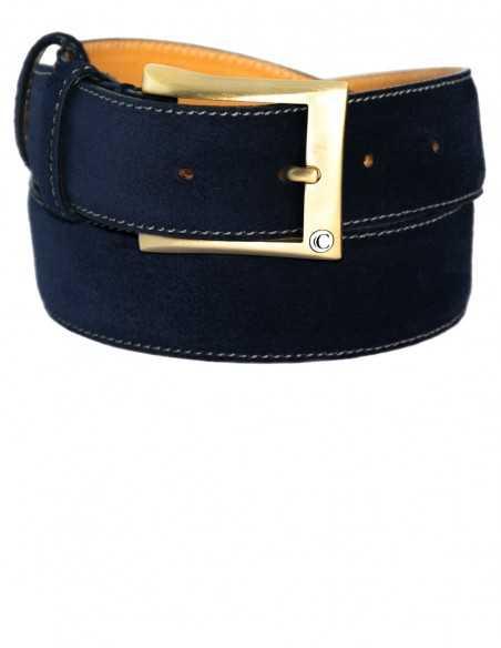 Casual Denim Blue Premium Suede Leather Men's Belt