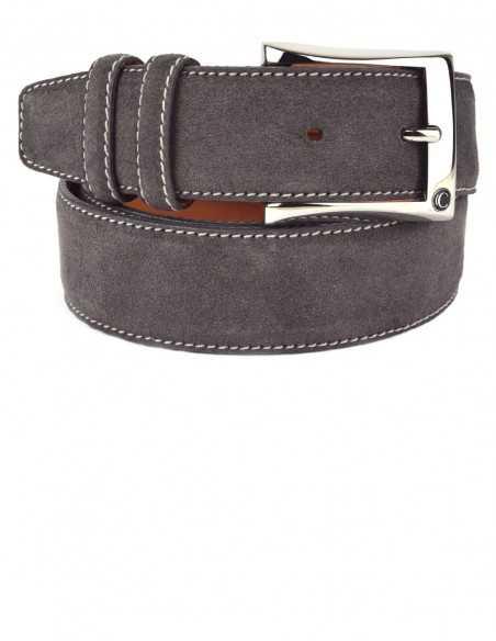 Casual Lava Grey Premium Suede Leather Men's Belt