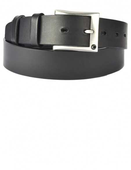 Casual Black Thick Raw Cut Buff Leather Men's Belt
