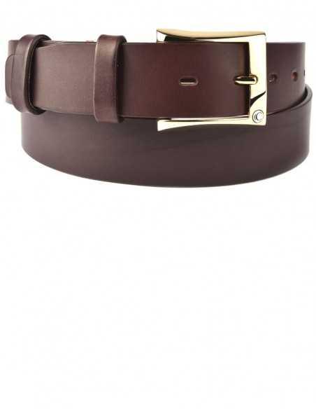 Casual Dark Tan Thick Raw Cut Buff Leather Men's Belt
