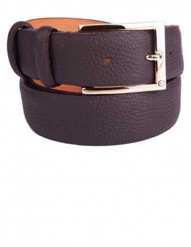 Classic Dark Tan Soft Grain Naturally Wrinkled Leather Men's Belt