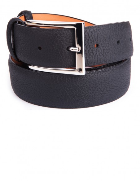 Classic Black Soft Grain Naturally Wrinkled Leather Men's Belt