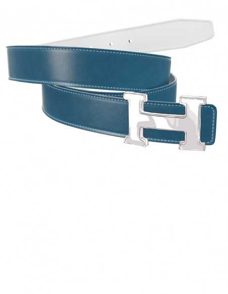 Smooth Calfskin Belt Strap for H Buckle Baby Blue & White
