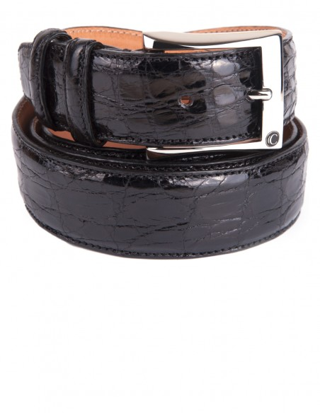 Exotic Black Glazed Alligator Men's Belt