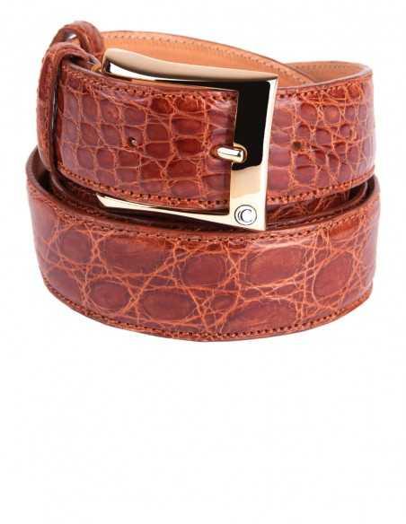 Exotic Honey Glazed Alligator Men's Belt