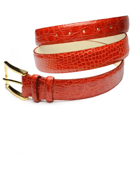 Exotic Red Glazed Alligator Men's Belt