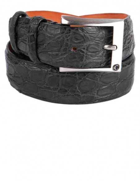 Matte Black Alligator Flenk Men's Belt