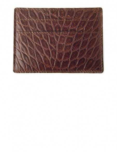 Matte Brown Alligator Card Case