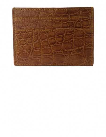 Matte Honey Alligator Card Case