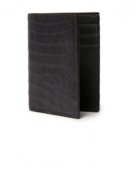 Matte Alligator Compact Vertical Wallet