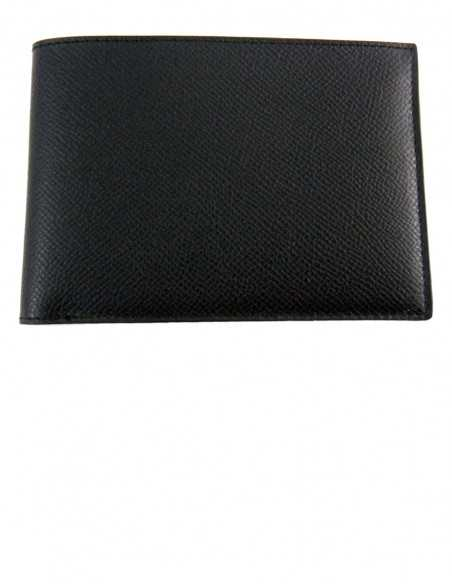 Printed Black Calfskin Men's Bifold Wallet