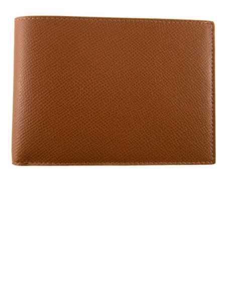Printed Leather Brown Calfskin Men's Bifold Wallet