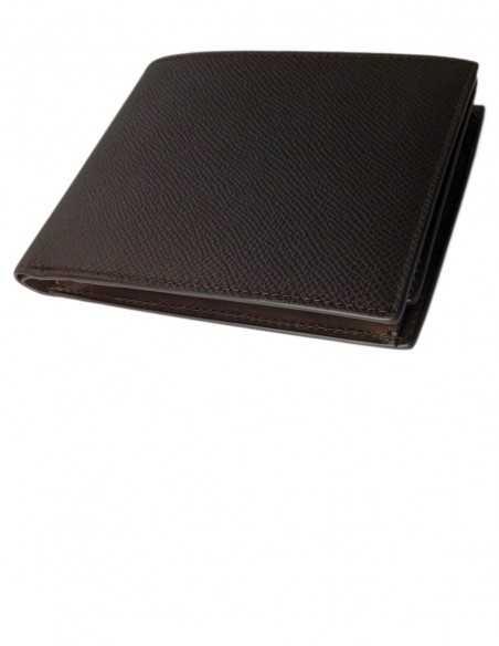Printed Dark Tan Calfskin Men's Bifold Wallet