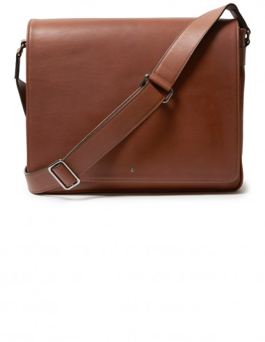 City Style Messenger Bag made of Italian Smooth Box Calfskin with MacBook pocket