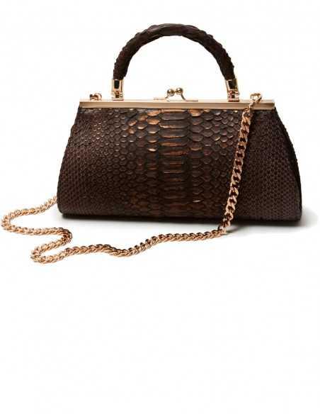 The Python Leather Clutch Bag, Crossbody Snakeskin Bag