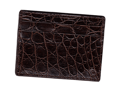Dark Tan Alligator Small Credit Card Case