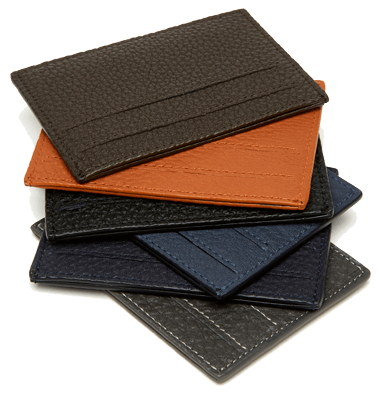 Slim Card Cases Textured Calfskin Color of your Choice
