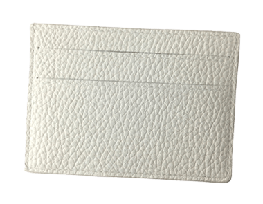 White Calfskin Small Credit Card Case