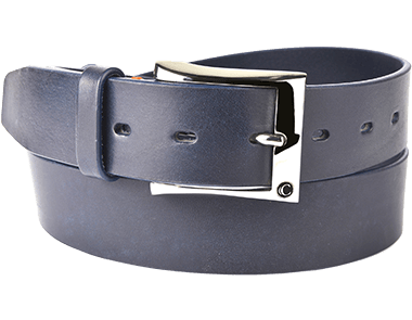 Casual Blue Thick Raw Cut Buff Leather Men's Belt