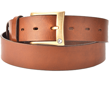 Casual Leather Brown Thick Raw Cut Buff Leather Men's Belt