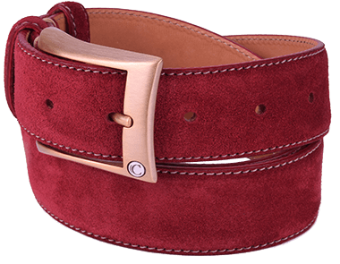 Cherry Red Suede Leather Men's Belt