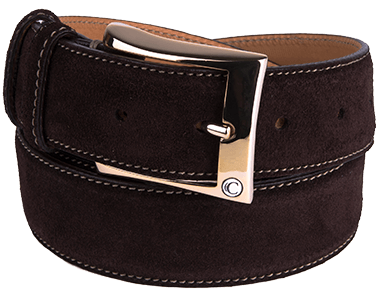 Chocolate Brown Suede Leather Men's Belt