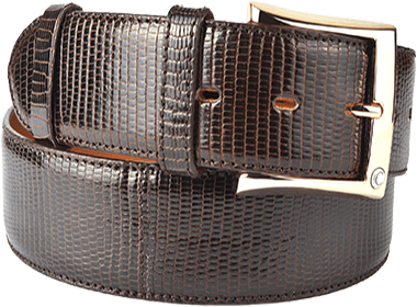 Exotic Brown Lizard Men's Belt