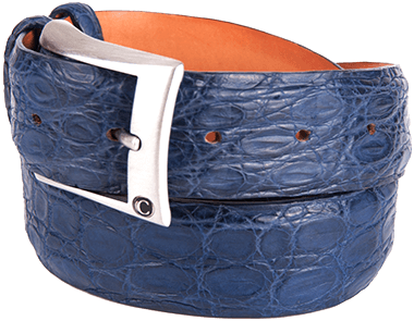 Matte Blue Alligator Belt for Man