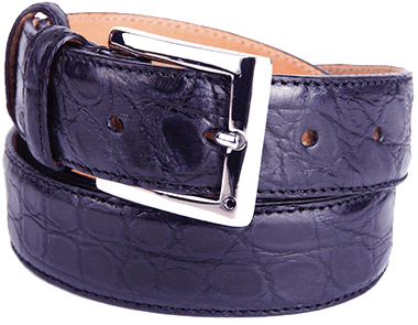 Glazed Blue Alligator Flank Formal Belt for Man