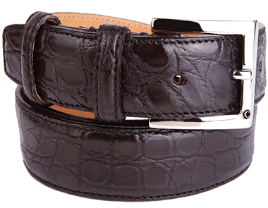 Glazed Dark Tan Alligator Flank Formal Belt for Man