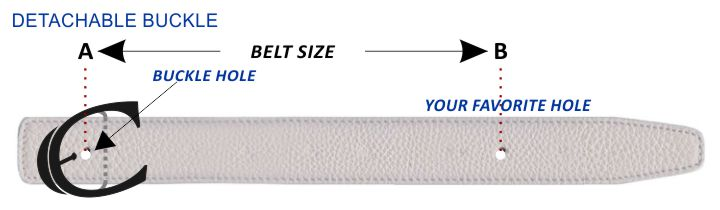 Detachable Buckle Belt Size Guide