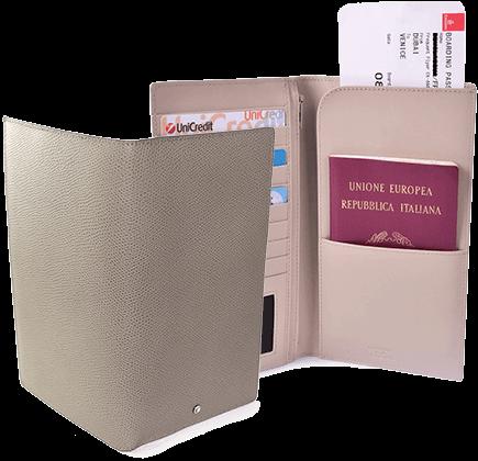 Textured Calfskin Travel Wallet and Business Wallet